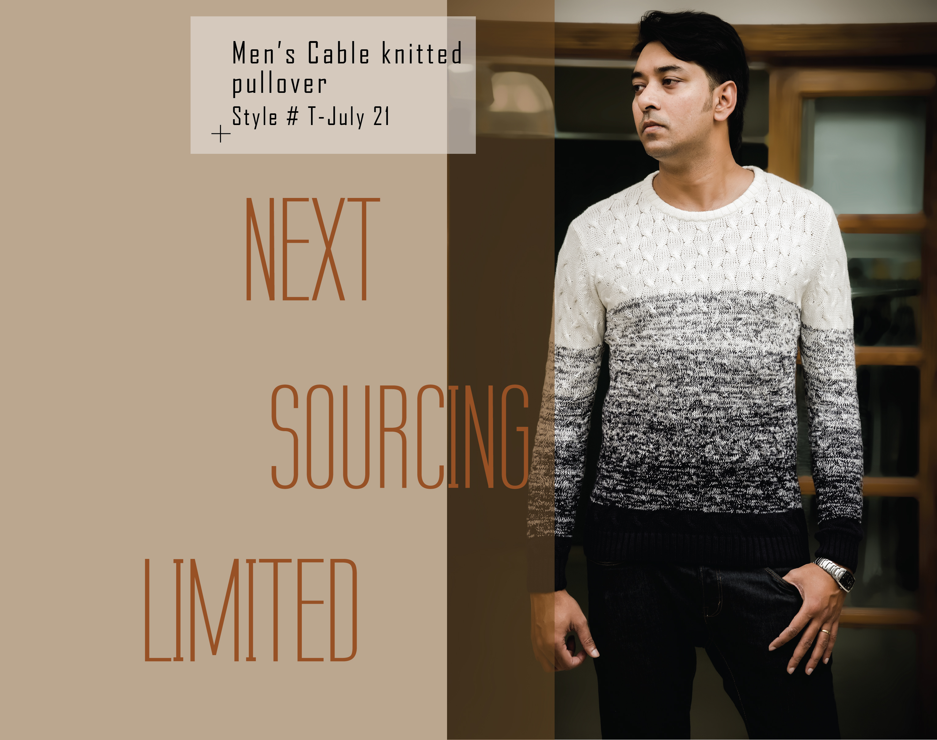 men cable knitted pullover